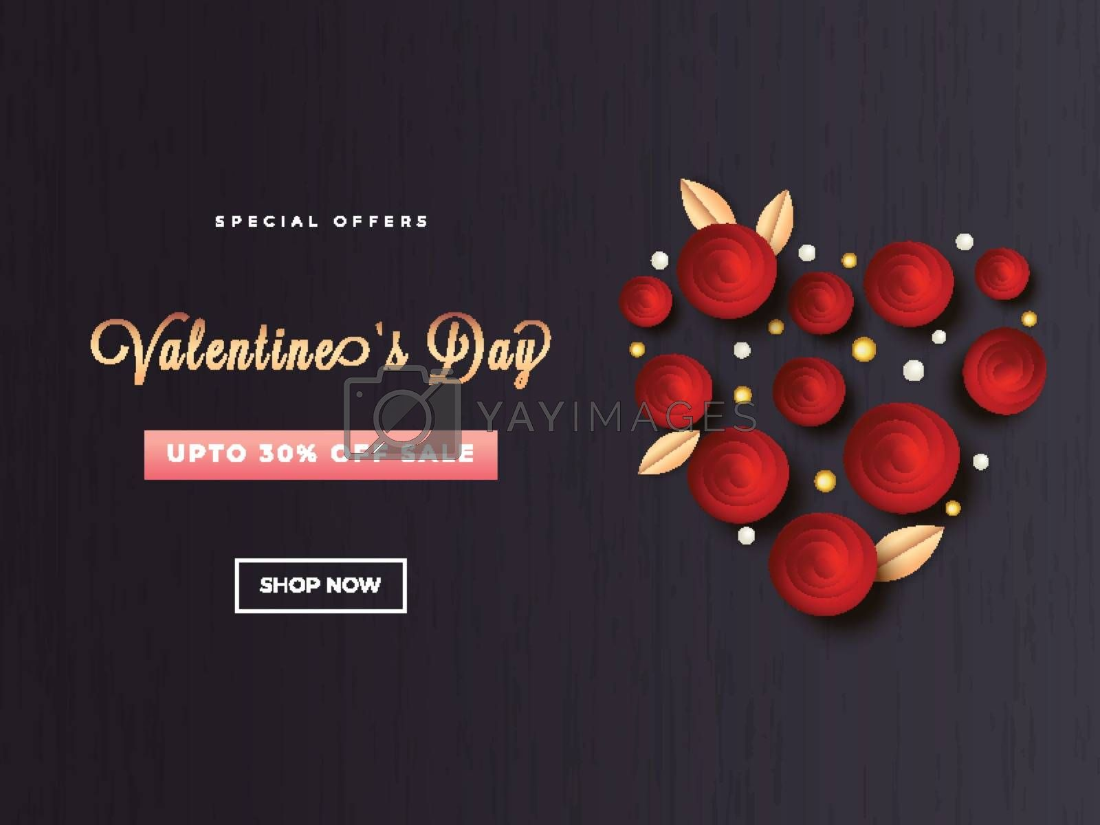 Creative heart shape on black background with 30% discount offer for Valentine's Day poster or template design.