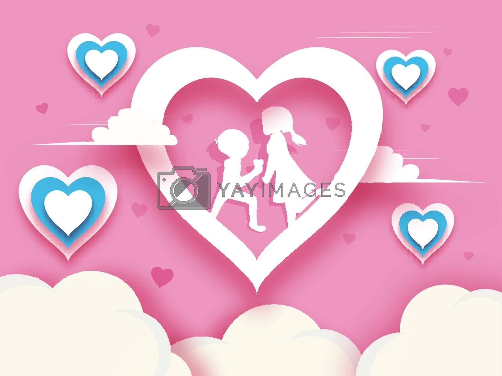 Paper cut style valentine's day background with cute couple and heart illustration. Love greeting card design.