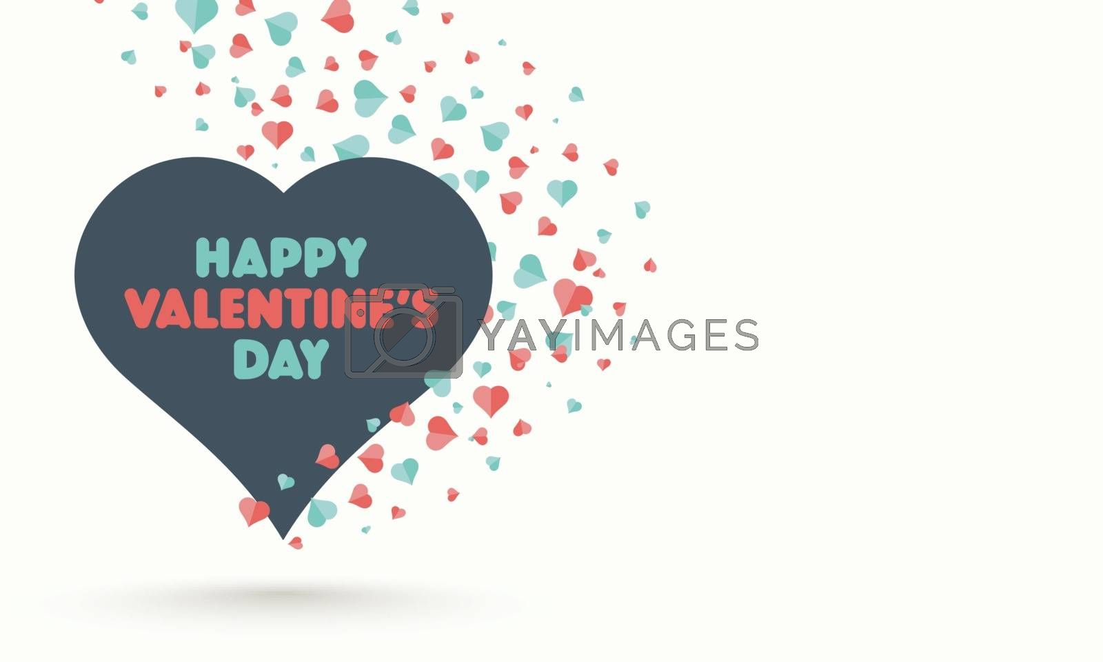 Happy valentine Day greeting card design decorated with red and green hearts on white background.