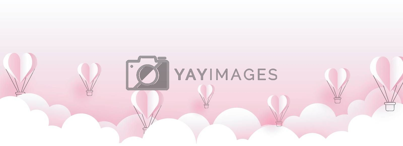Paper cut style cloudy background with flying hot air balloons illustration for valentine's day header or banner design.