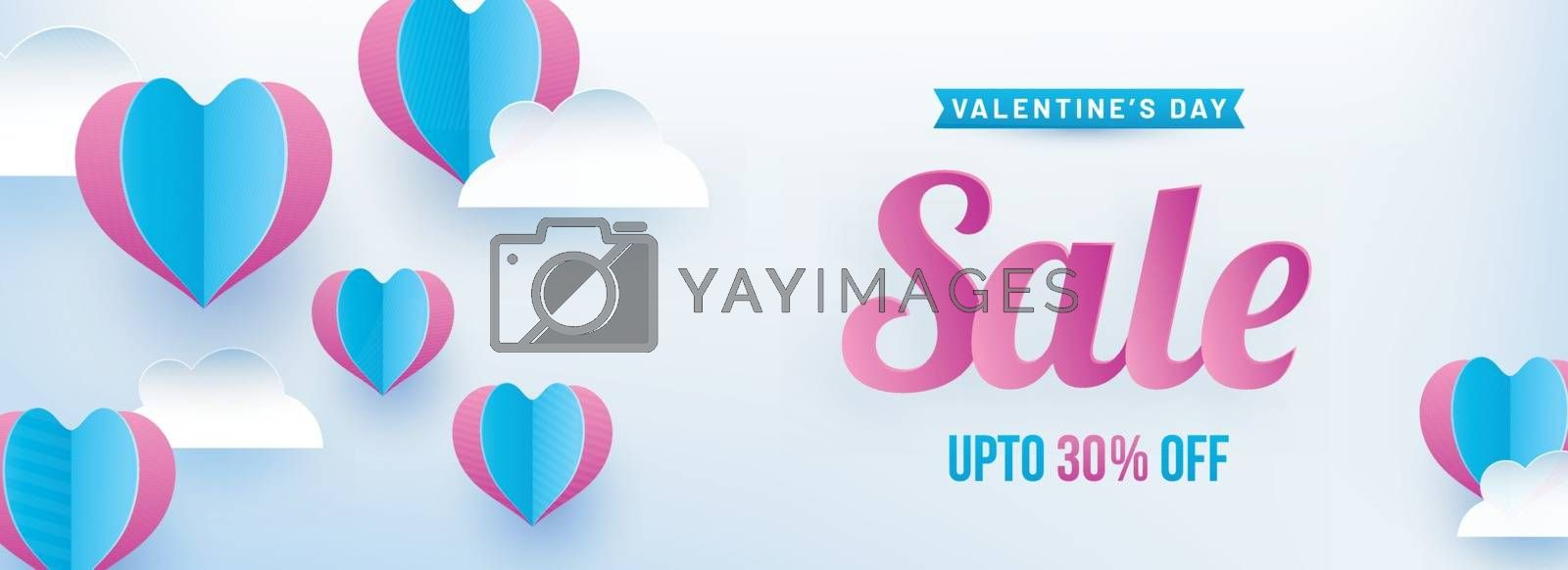 Paper origami of heart shapes on cloudy background, Valentine's Day sale banner design with 30% discount offer.