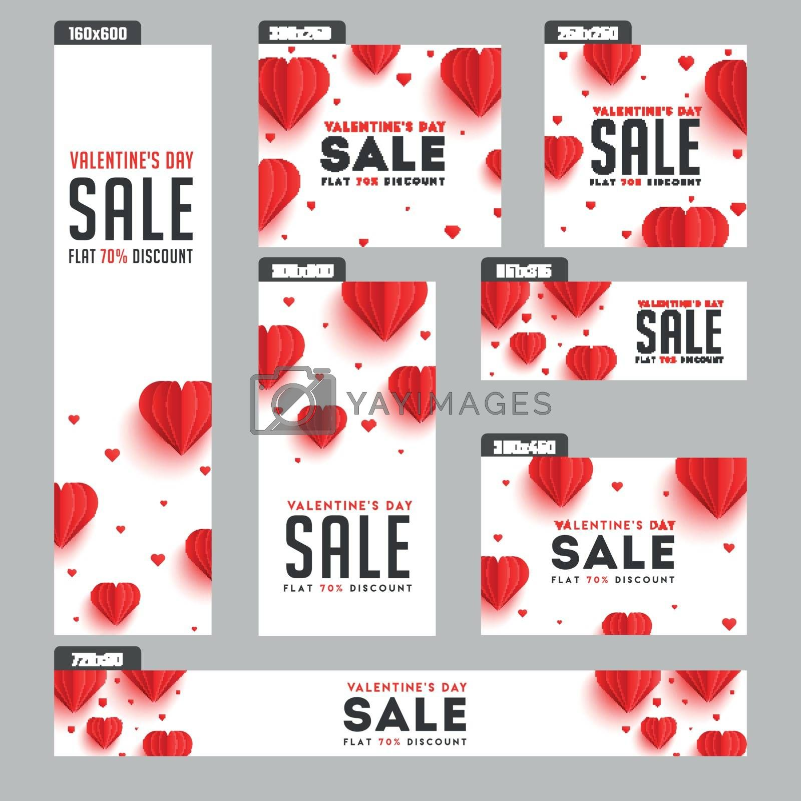 Valentine's Day sale header and banner set with 70% discount off by aispl