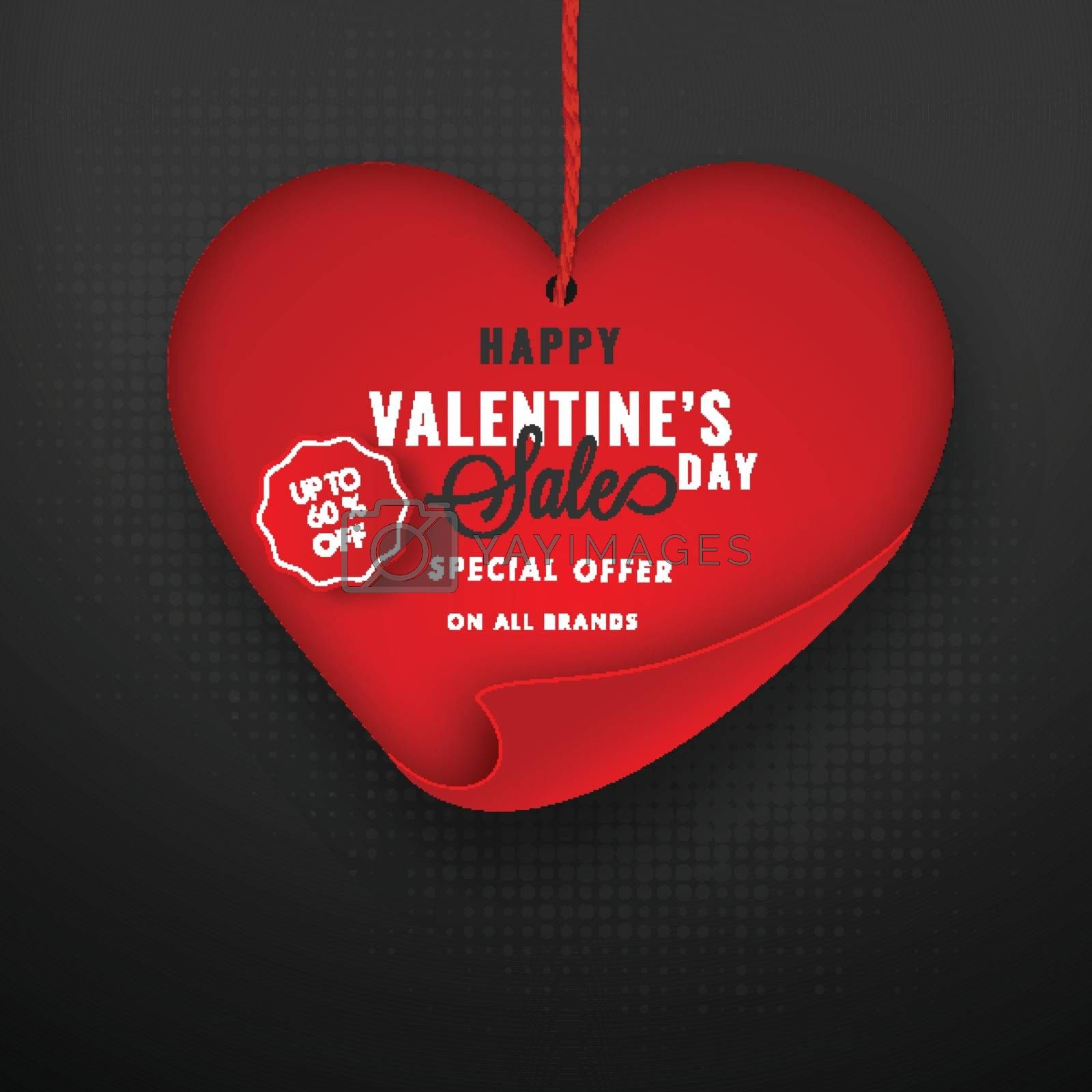 Happy valentine's day sale concept with heart shape on grey back by aispl