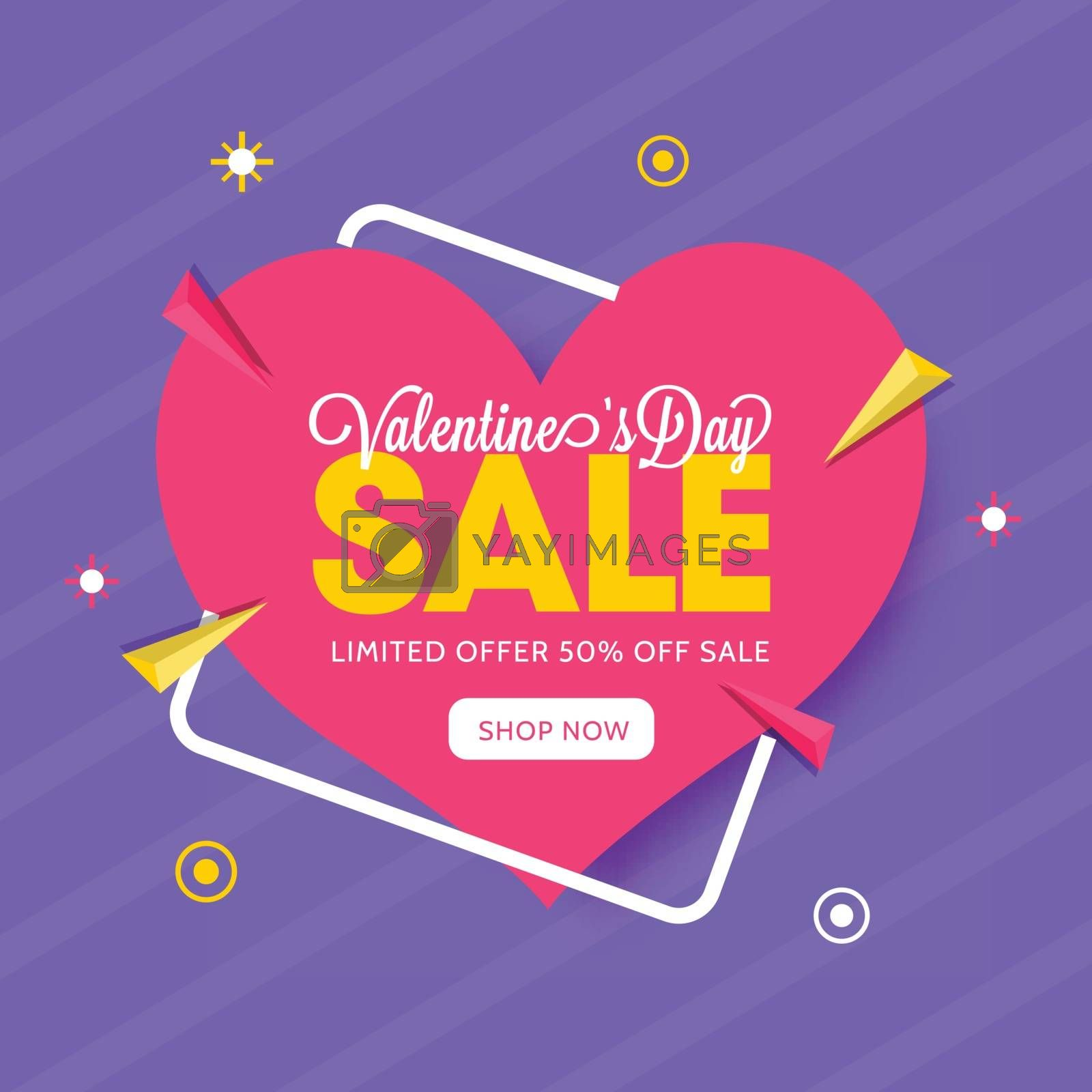 Valentine's Day sale background with paper heart shape. by aispl