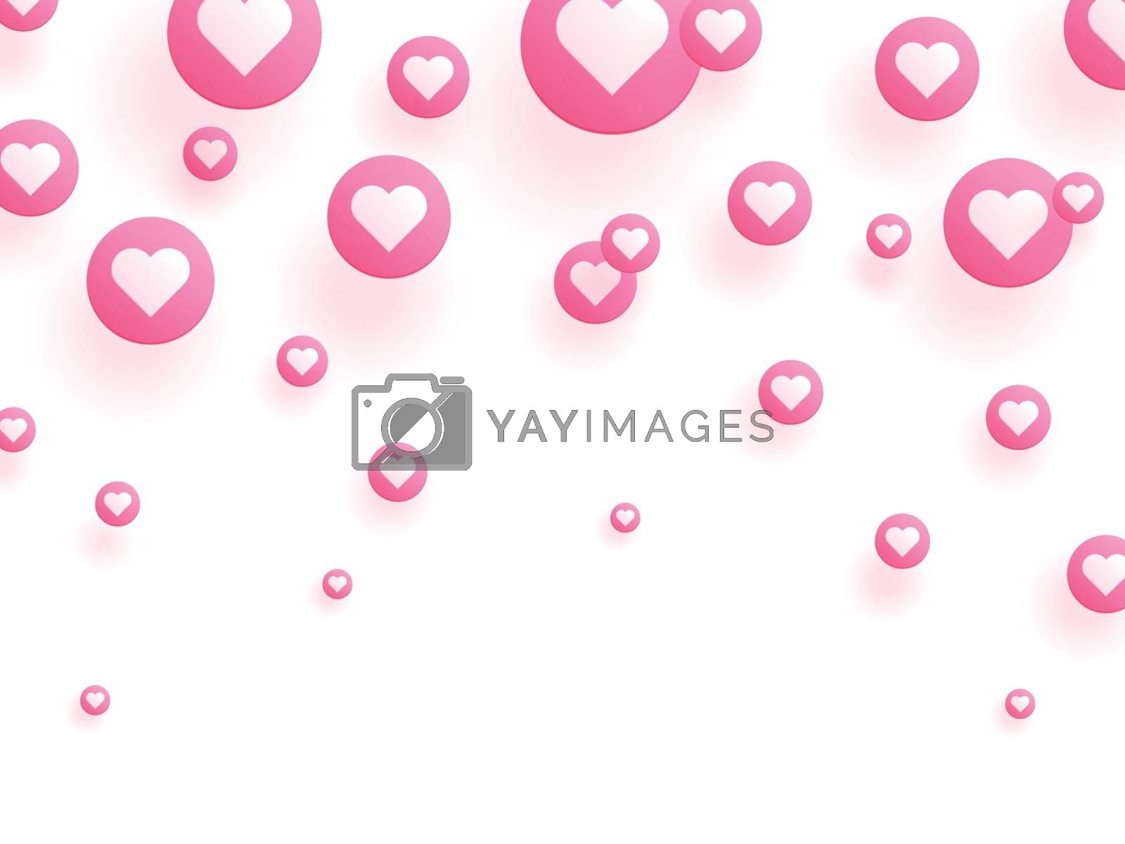 Love background decorated with pink heart bubbles.