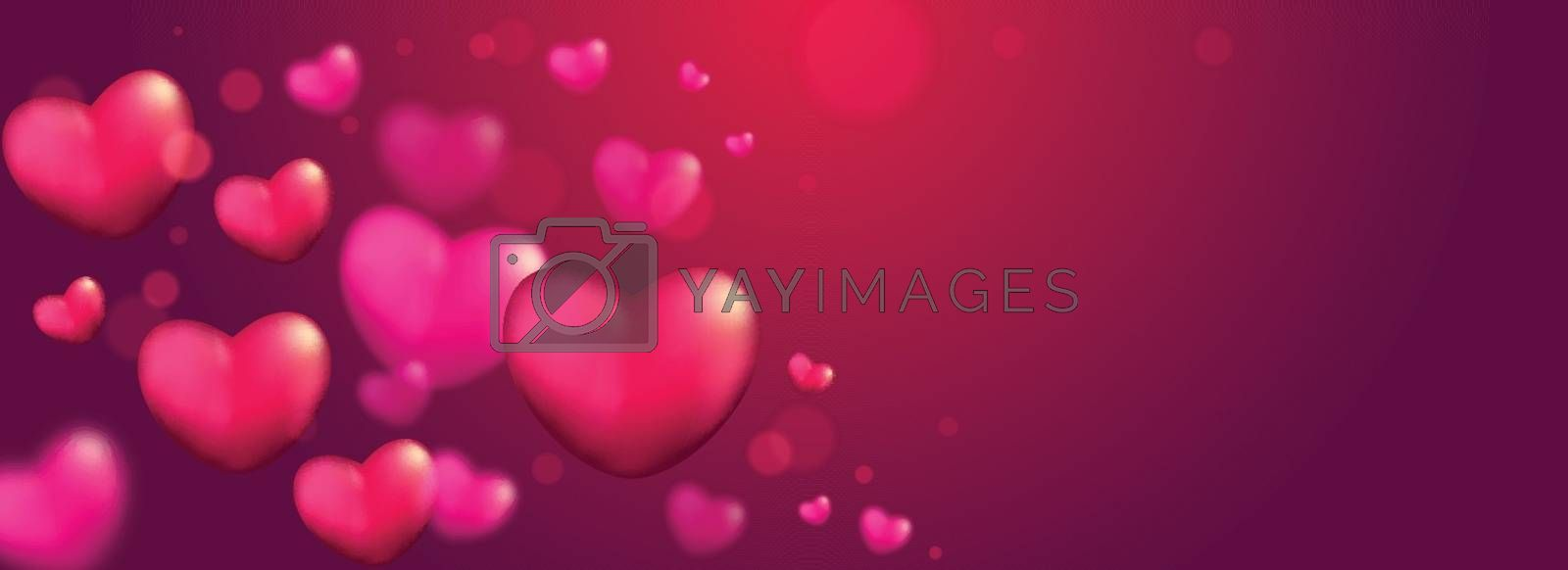 Glossy banner design with glossy heart shapes.