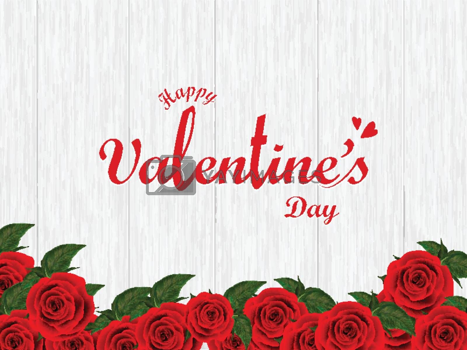 Stylish lettering of valentine's day on wooden texture background decorated with rose flowers can be used as poster or banner design.