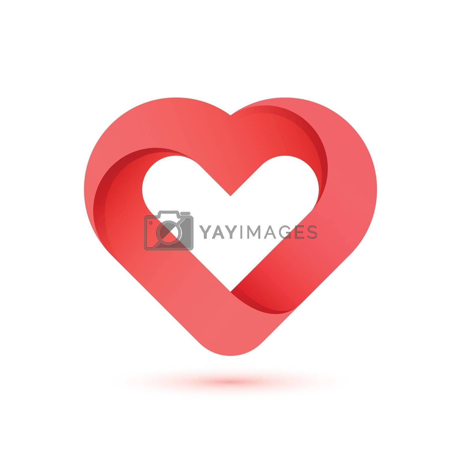Creative heart shape illustration on white background for valentine's day.