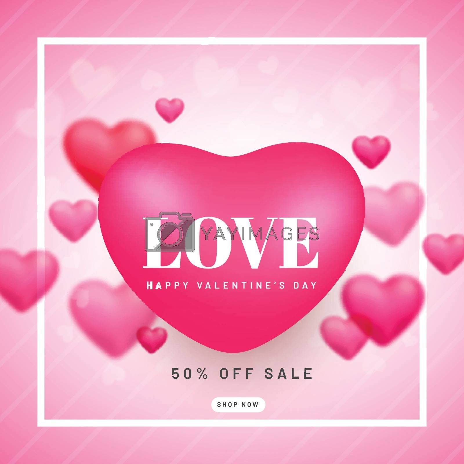 Valentine day sale poster or template design decorated with hear by aispl
