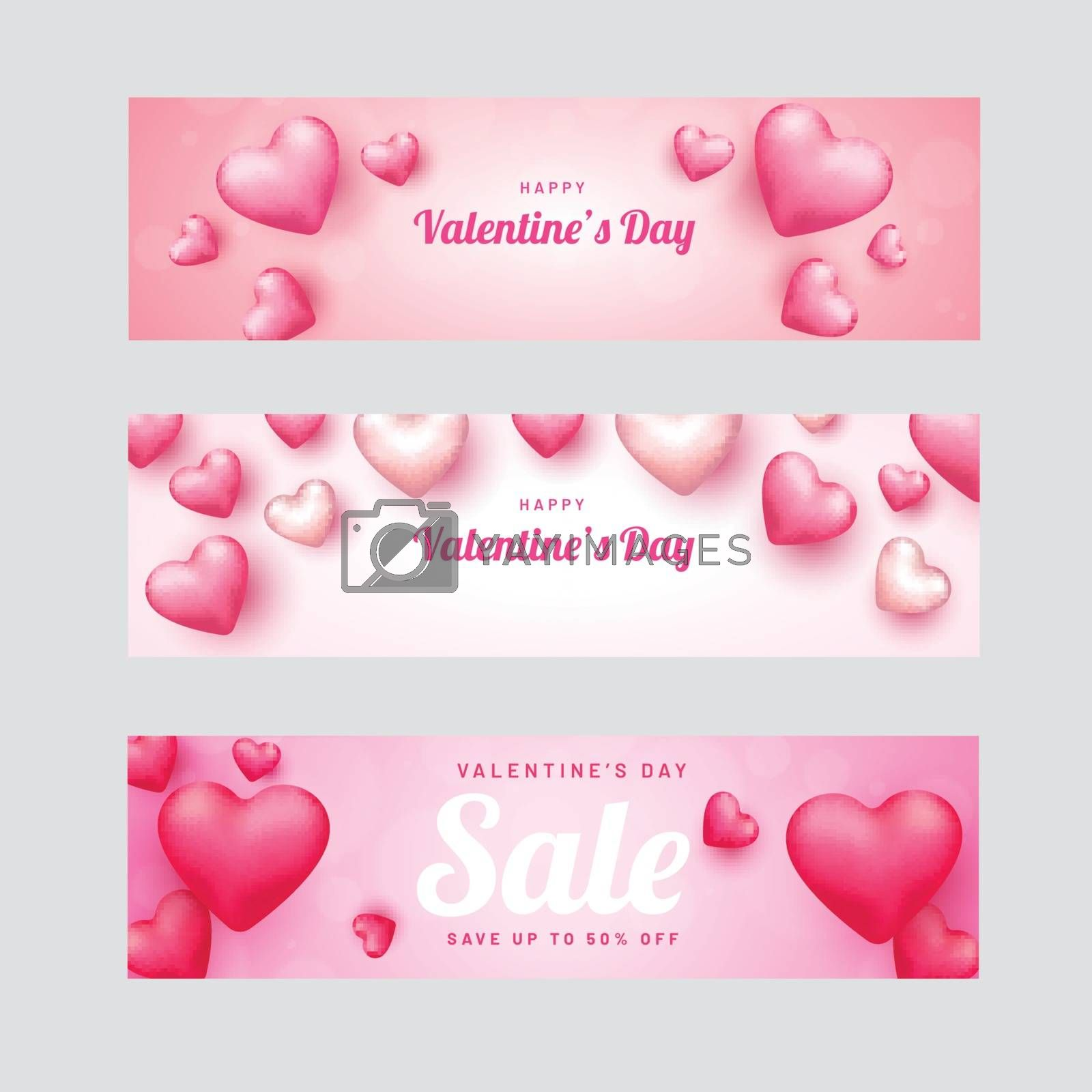 Promotional header or banner set for Valentine's Day decorated w by aispl