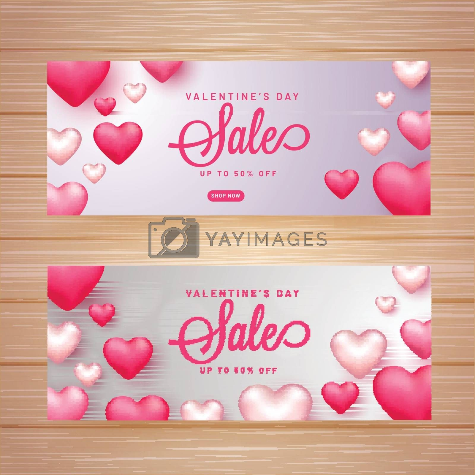 Valentine's Day sale header or banner set with 50% discount offe by aispl