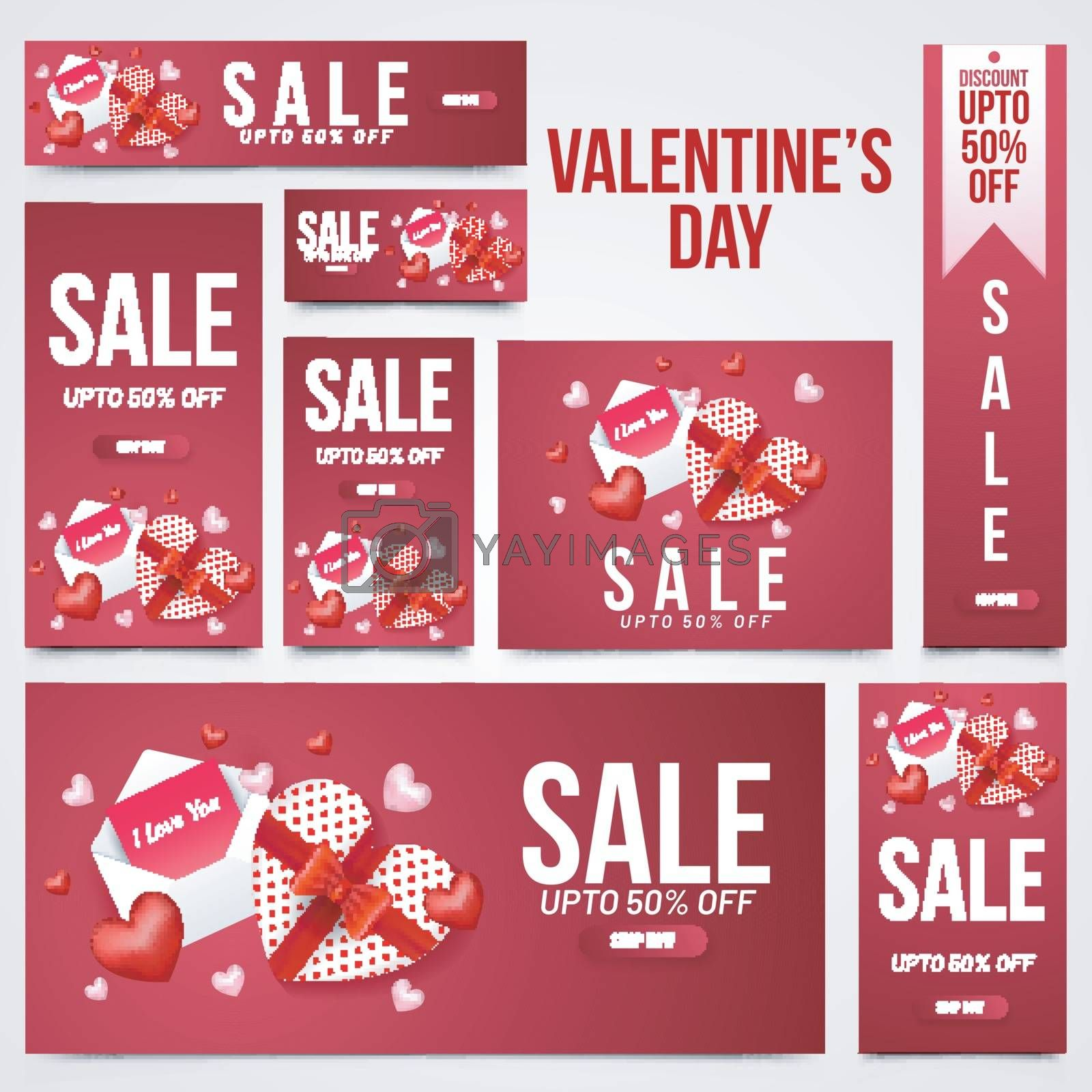 Valentine's Day sale header, banner and template set with illust by aispl