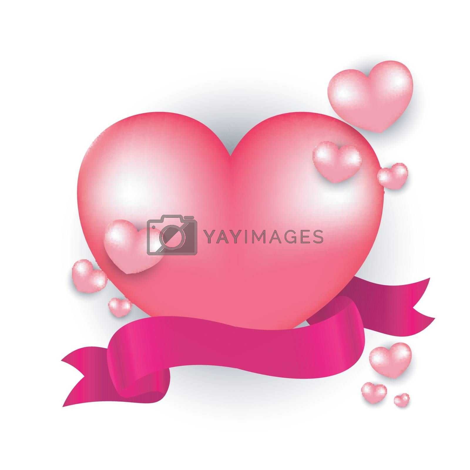 Glossy heart shapes with ribbon on white background for valentine's day celebration.
