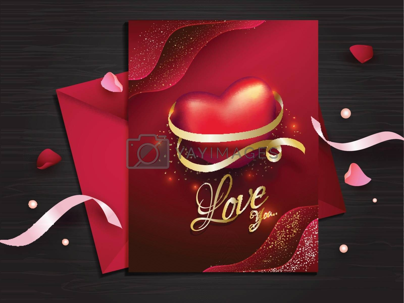Love greeting card design in red color decorated with ribbons and flower petals for Valentine's Day celebration.