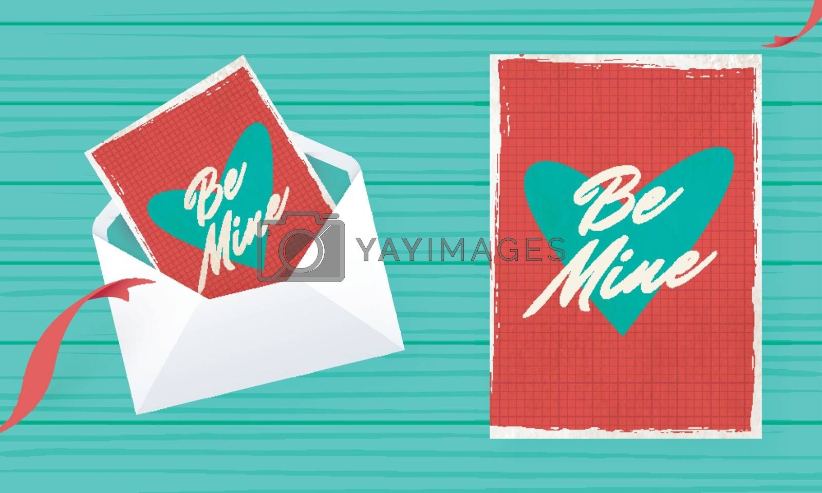 Be Mine greeting card design in retro style for Valentine's Day celebration concept.