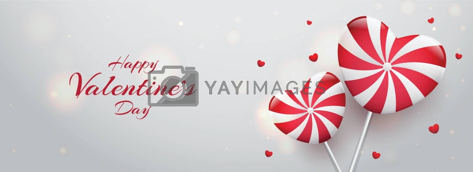 Heart shape candies illustration on glossy bokeh background for Valentine's Day header or banner design.