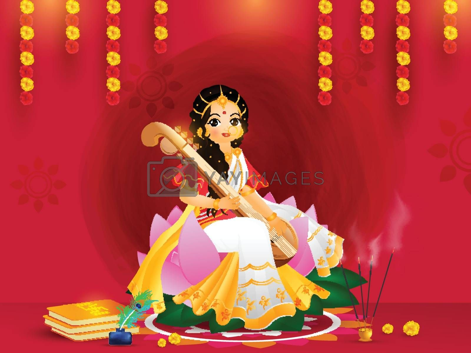 Beautiful greeting card design with goddess saraswati character in sitting pose on the occasion of Vasant Panchami.