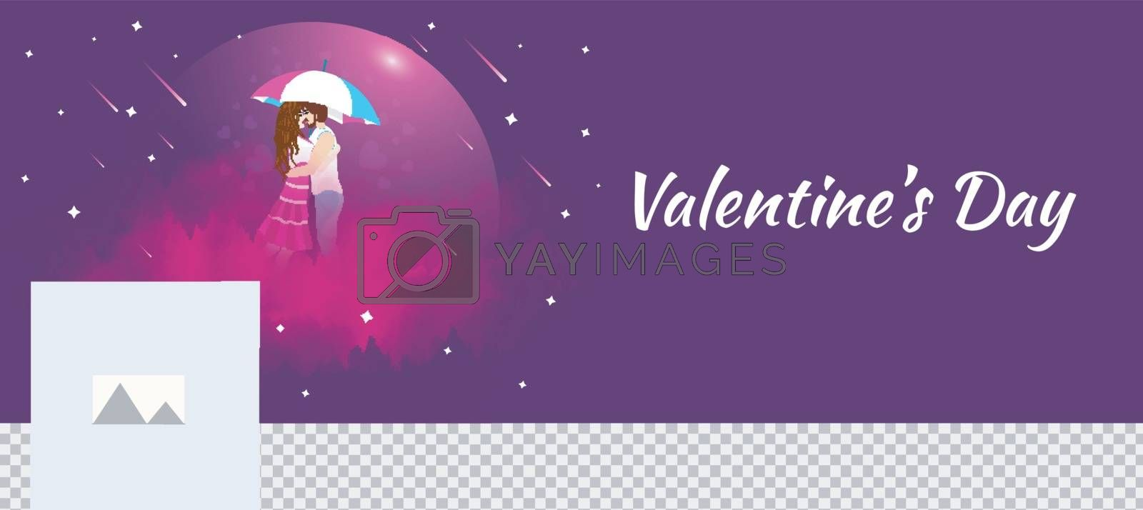 Young couple in romantic pose on purple background with stylish lettering of Valentine's Day for Social media header or banner design.