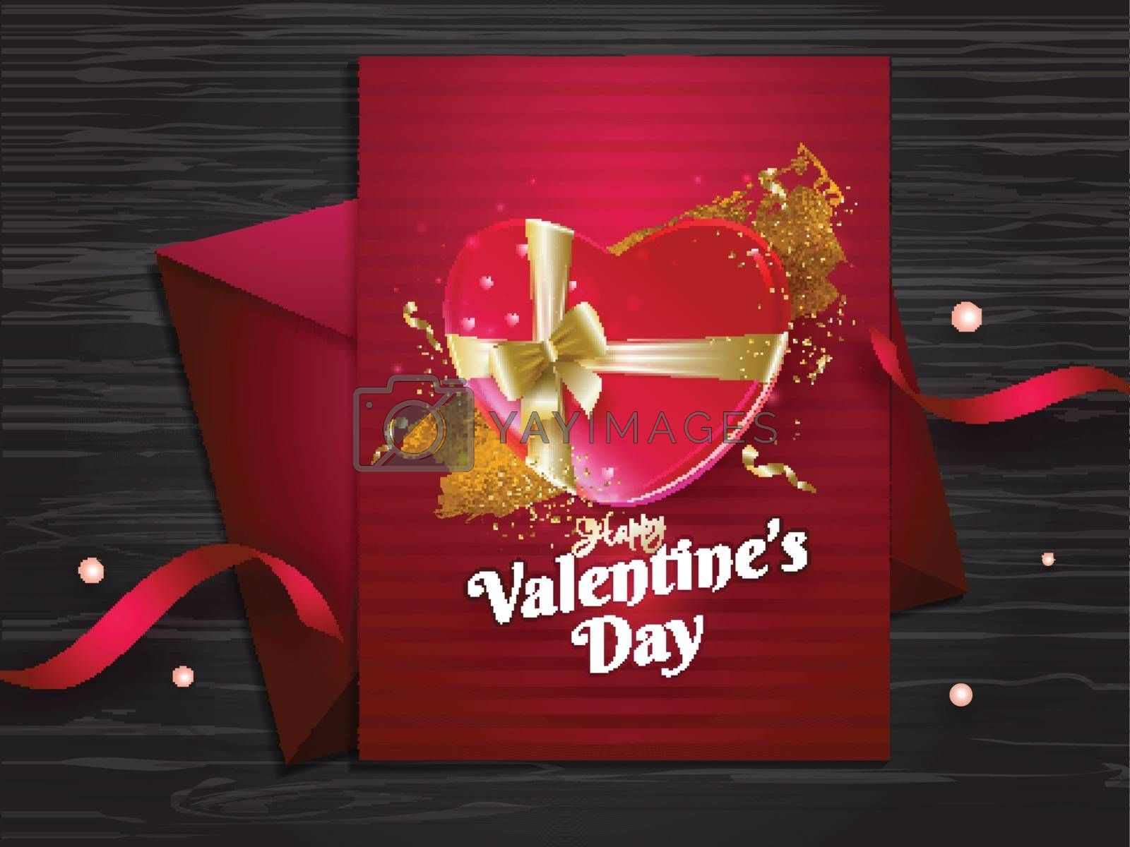 Happy Valentine's Day greeting card design on wooden texture bac by aispl
