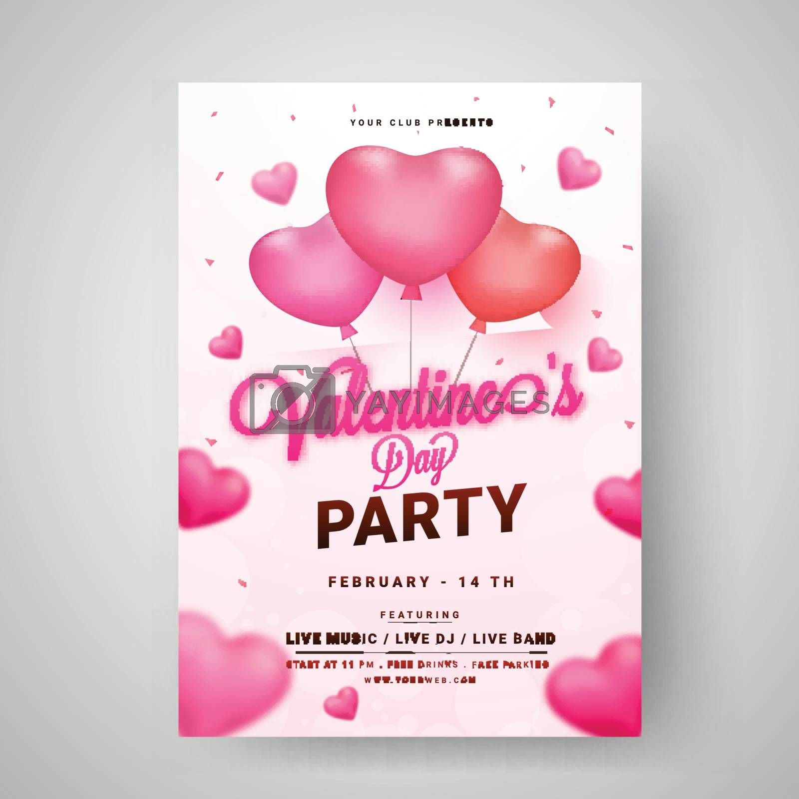 Valentine's Day party template or flyer design decorated with gl by aispl