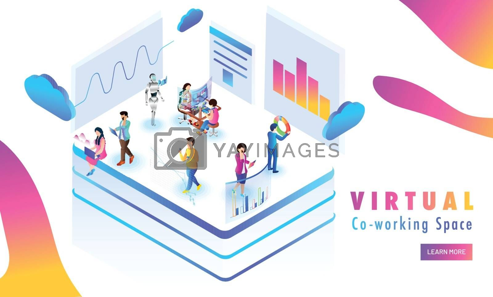 Virtual Co-Working platform, miniature people analysis data or stats on abstract background. Responsive web template design.