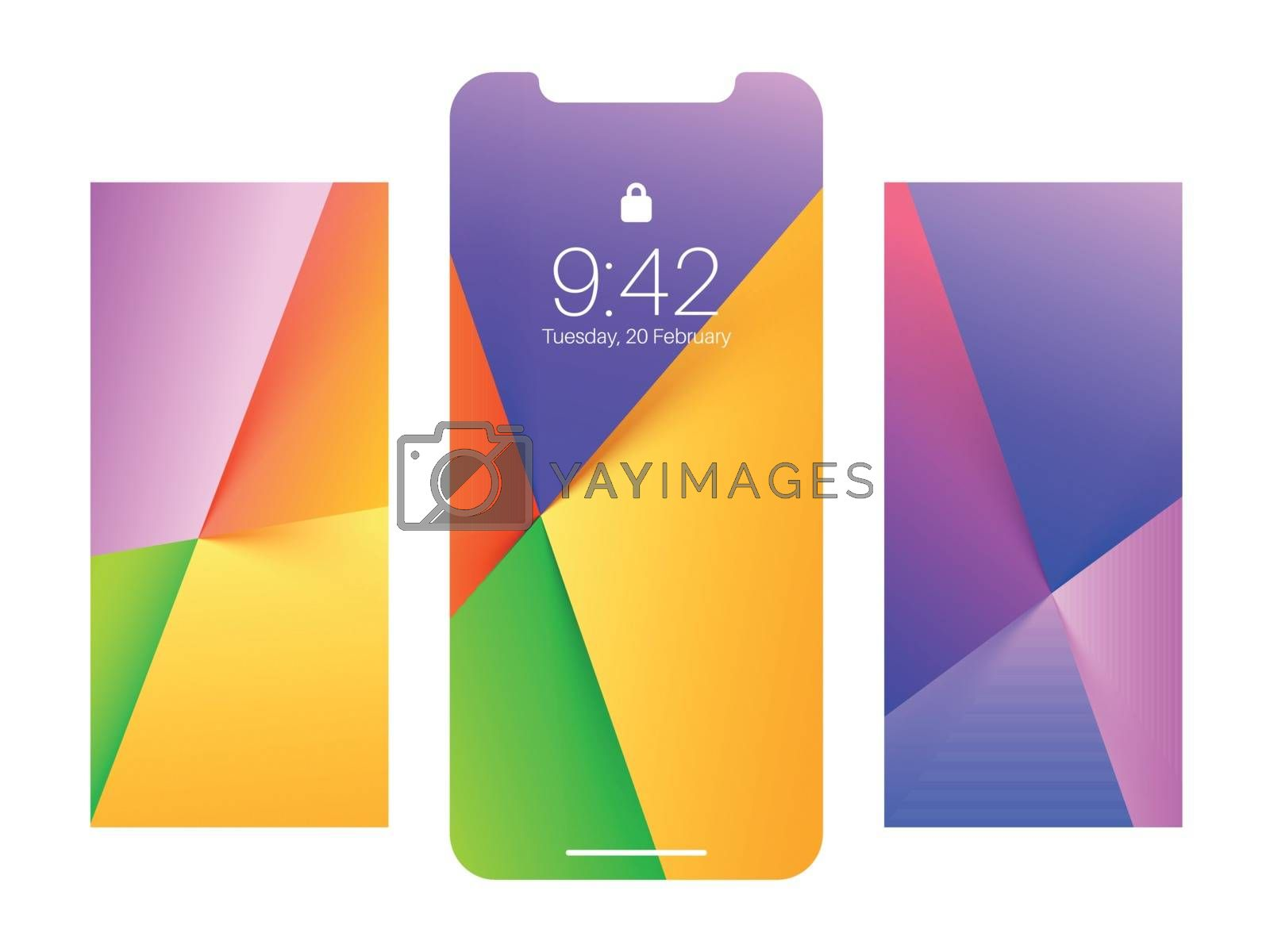 Mobile screen lock display with abstract modern wallpaper designs.