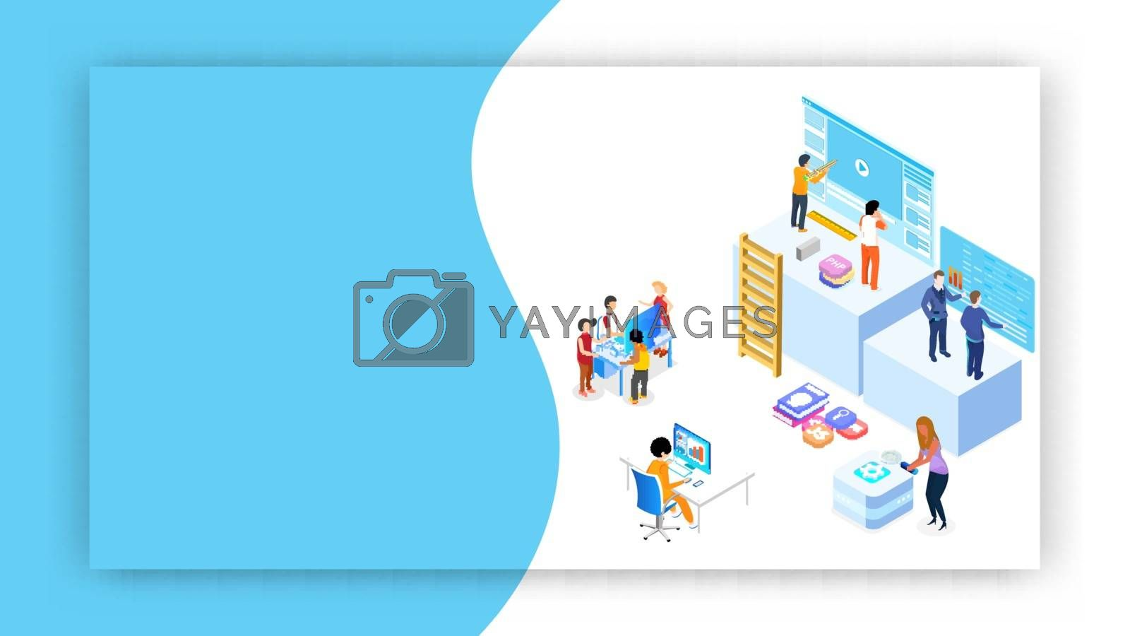 Miniature web developers maintaining the website or analysts analysis data on abstract background for Teamwork concept based isometric design.