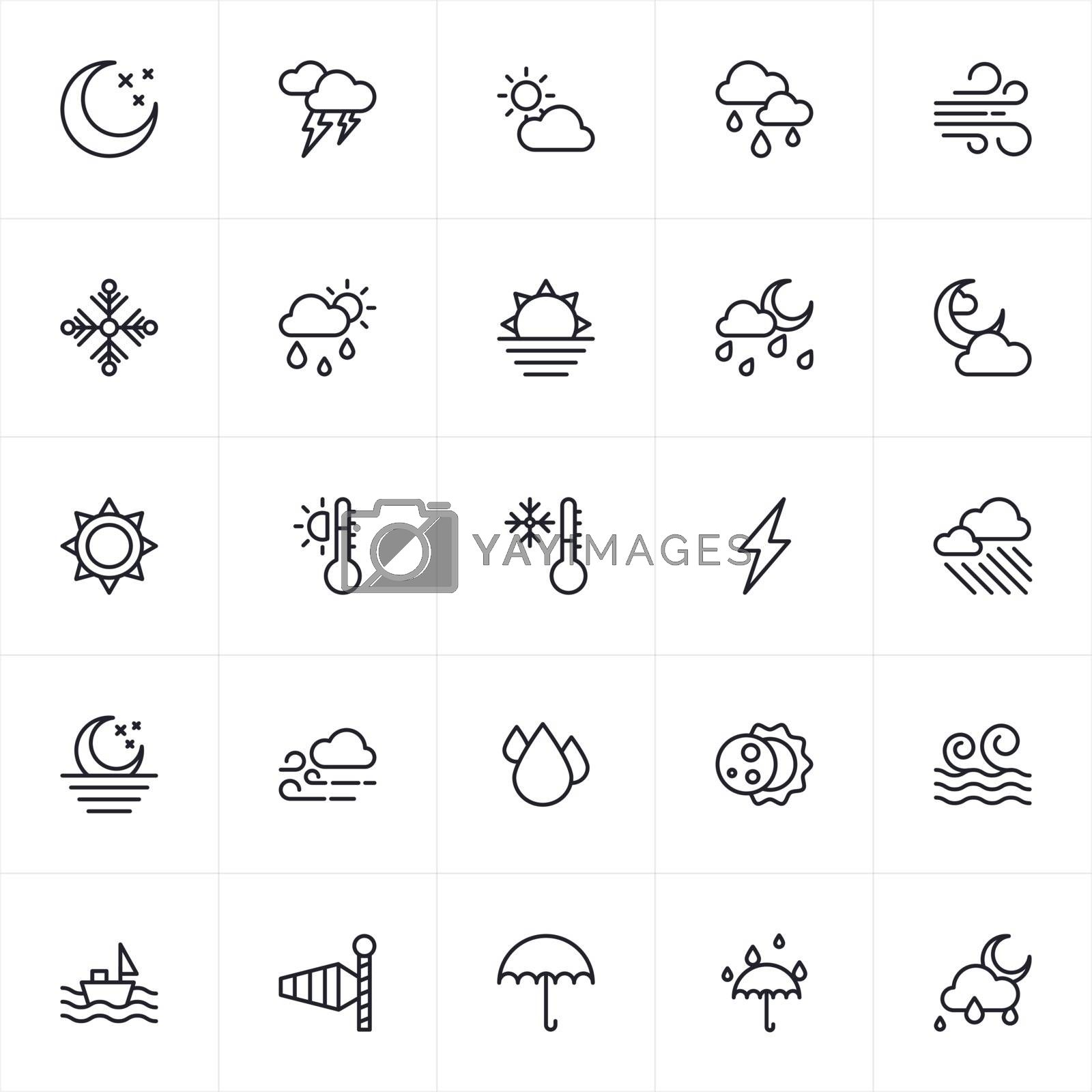 Vector illustration of weather icons set in flat style.