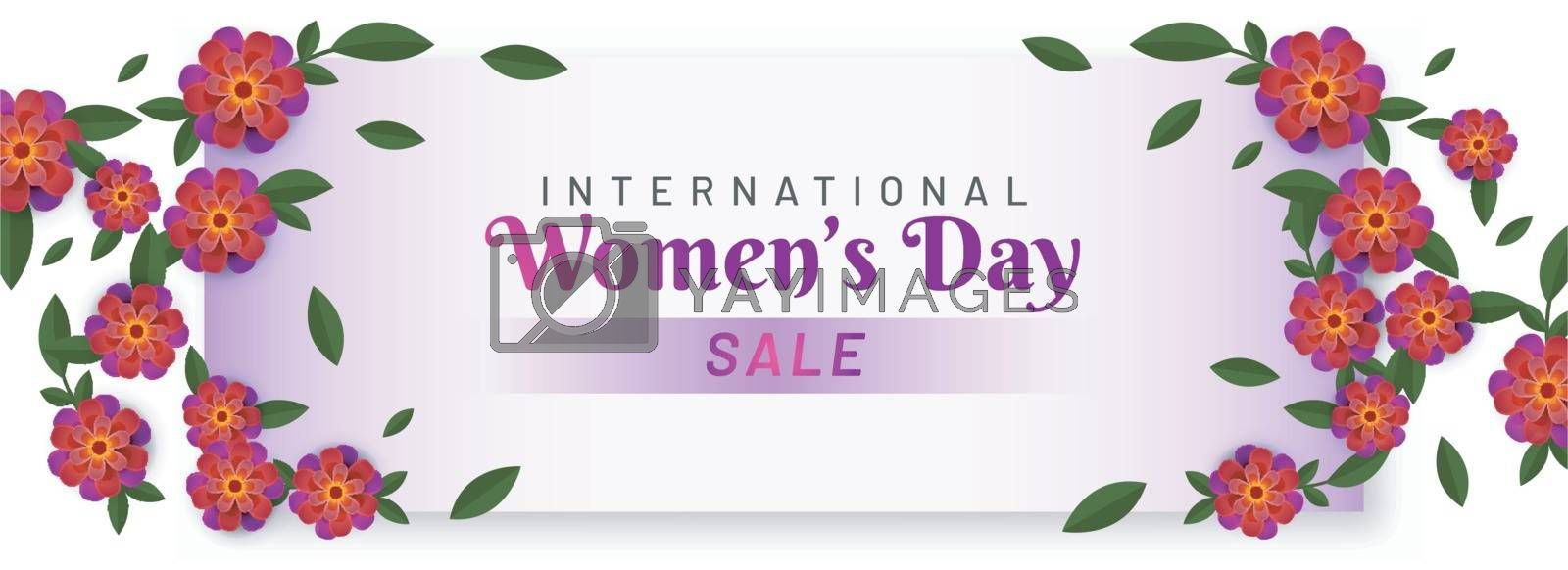 International Women's Day sale header or banner design decorated with beautiful paper cut flowers.