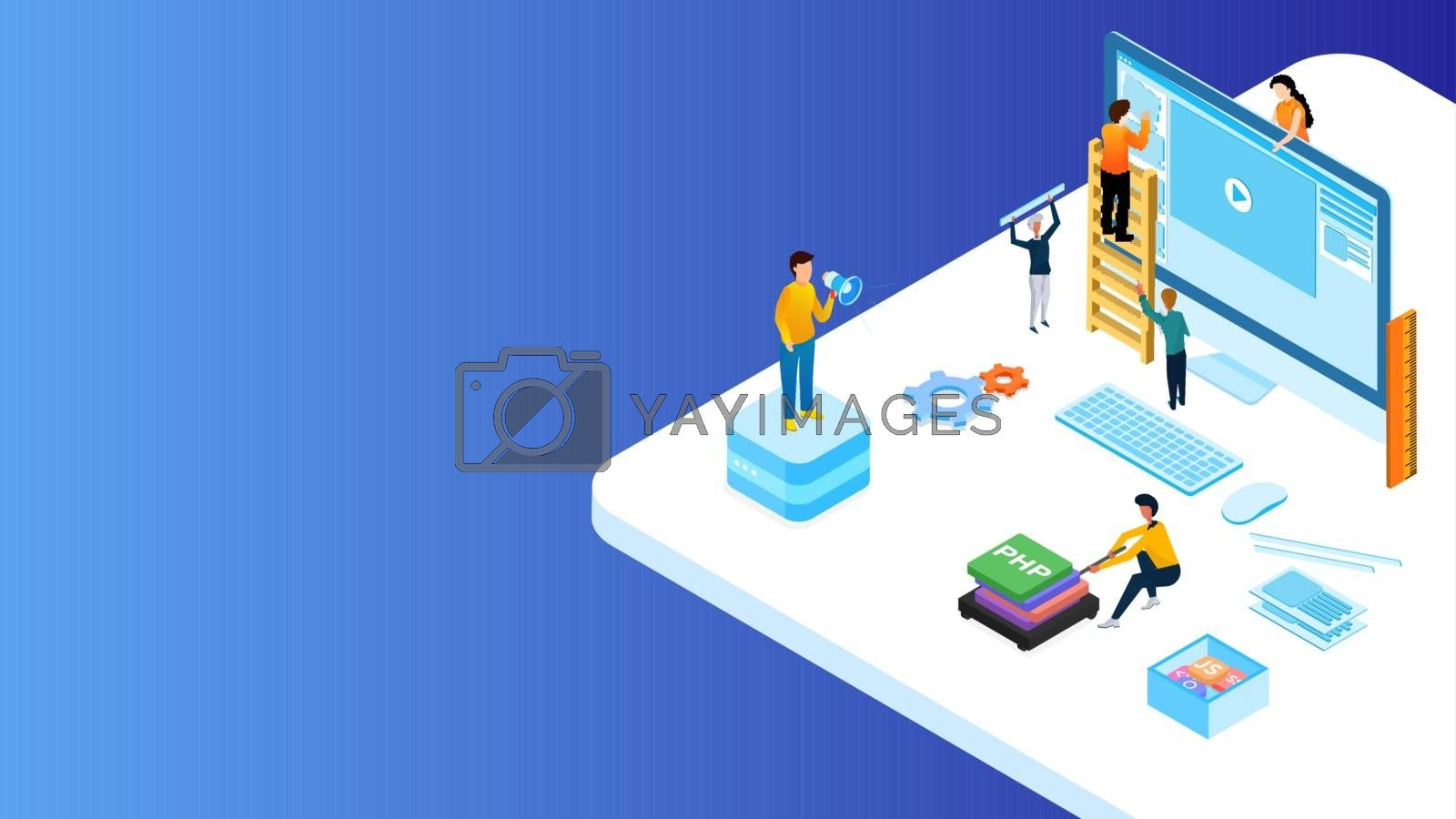 Miniature web developers maintain the website on computer with different programming language sign for Web Development or advertising concept based isometric design.