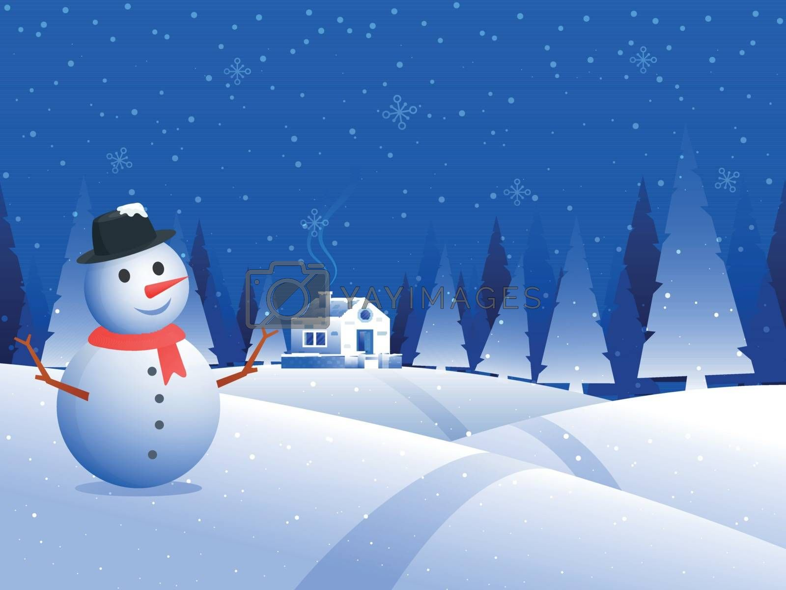 Illustration of snowman with snow capped house on winter background. Can be used as greeting card design.