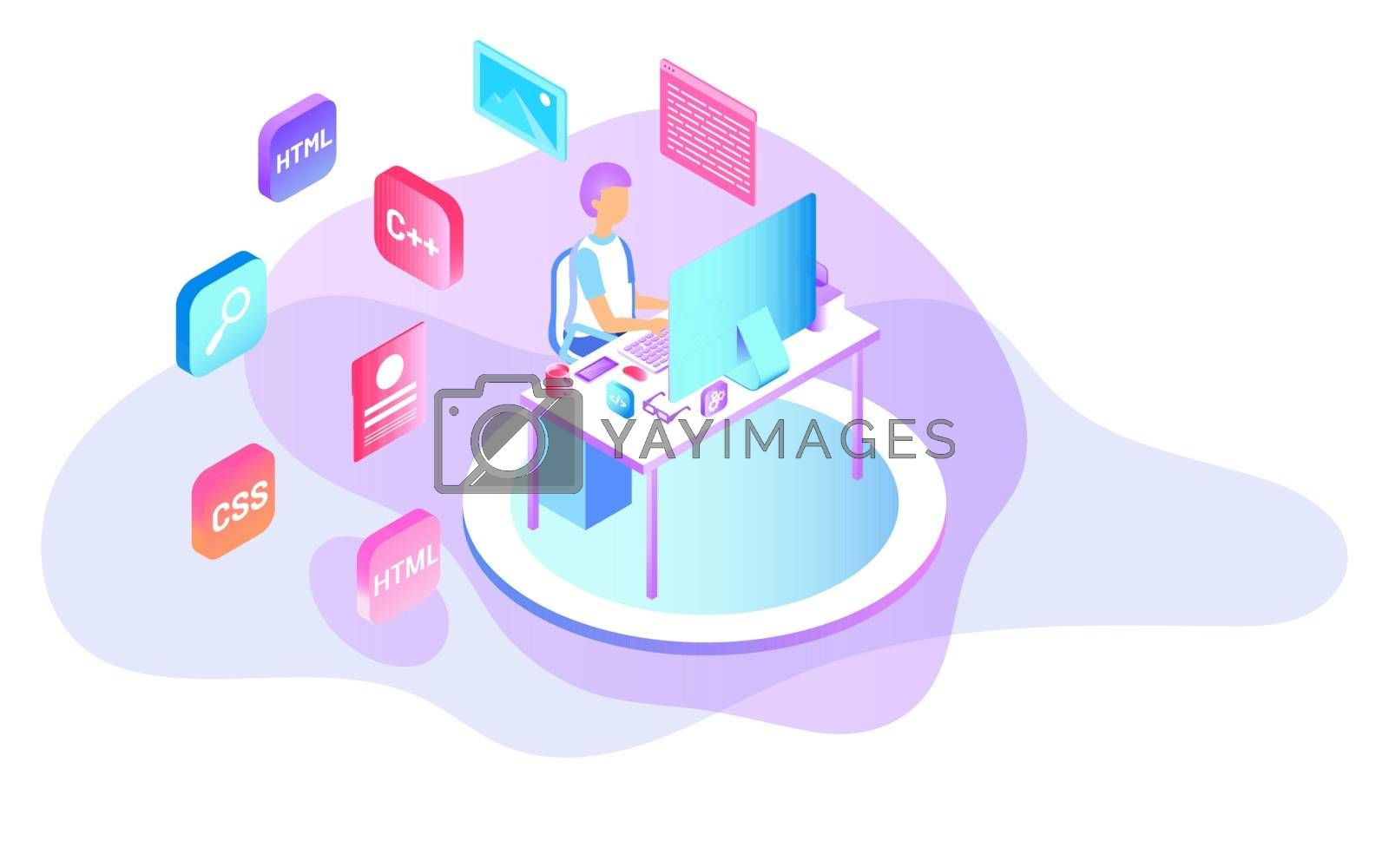 Analyst or developer searching the problem on computer with different programing languages for Web Development concept based isometric design.