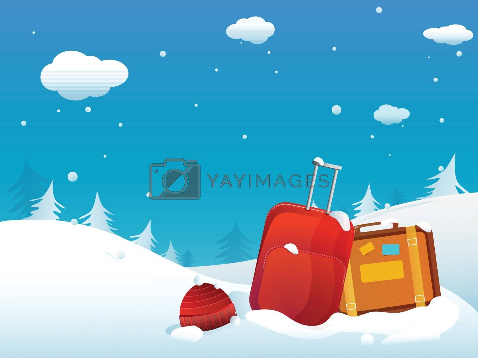 Winter Vacation celebration with backpack on snow capped winter background.
