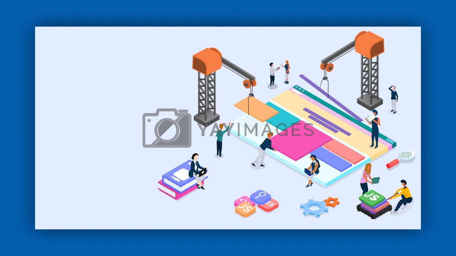 Business people maintaining the website and help of tower crane with different programming language sign for Web Development or Teamwork concept based isometric design.