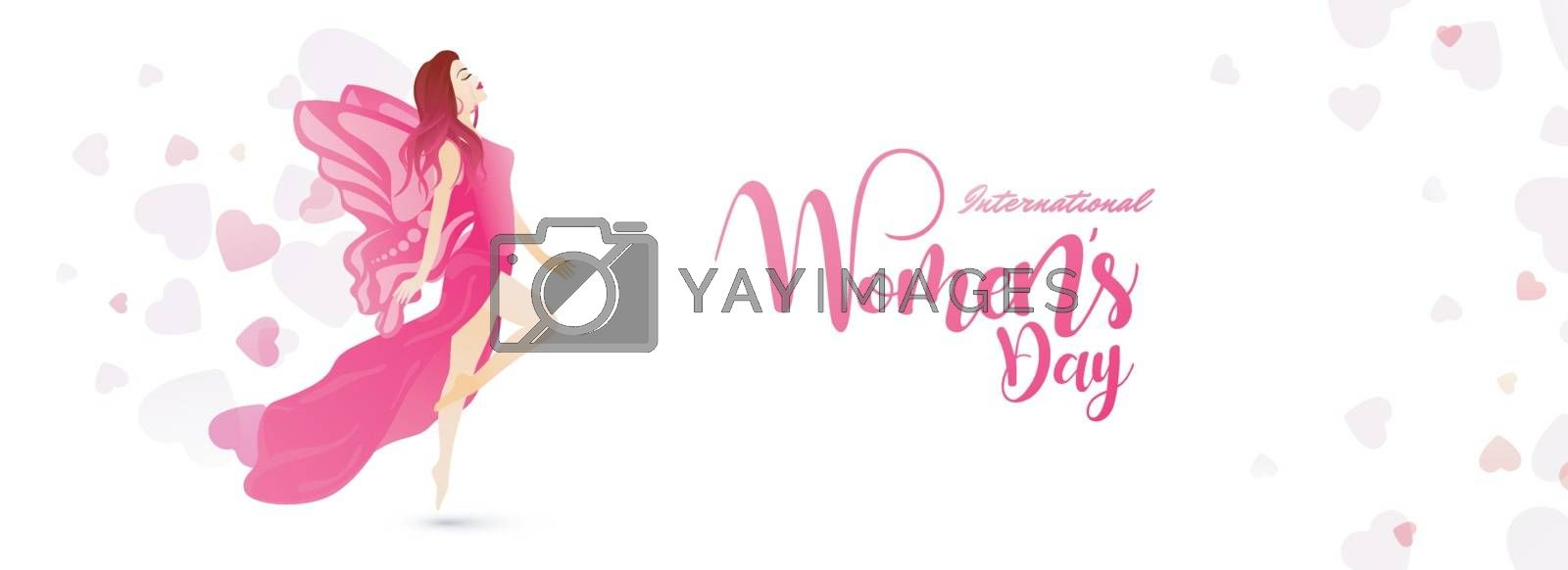 Young girl character with stylish lettering of International Women's Day on heart decorated background.