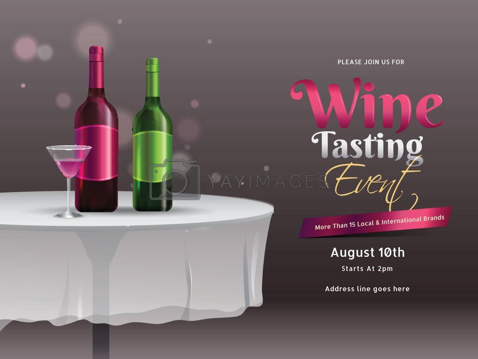 Illustration of wine bottles with drink glass on restaurant table for Wine Tasting event or party celebration banner or poster design.