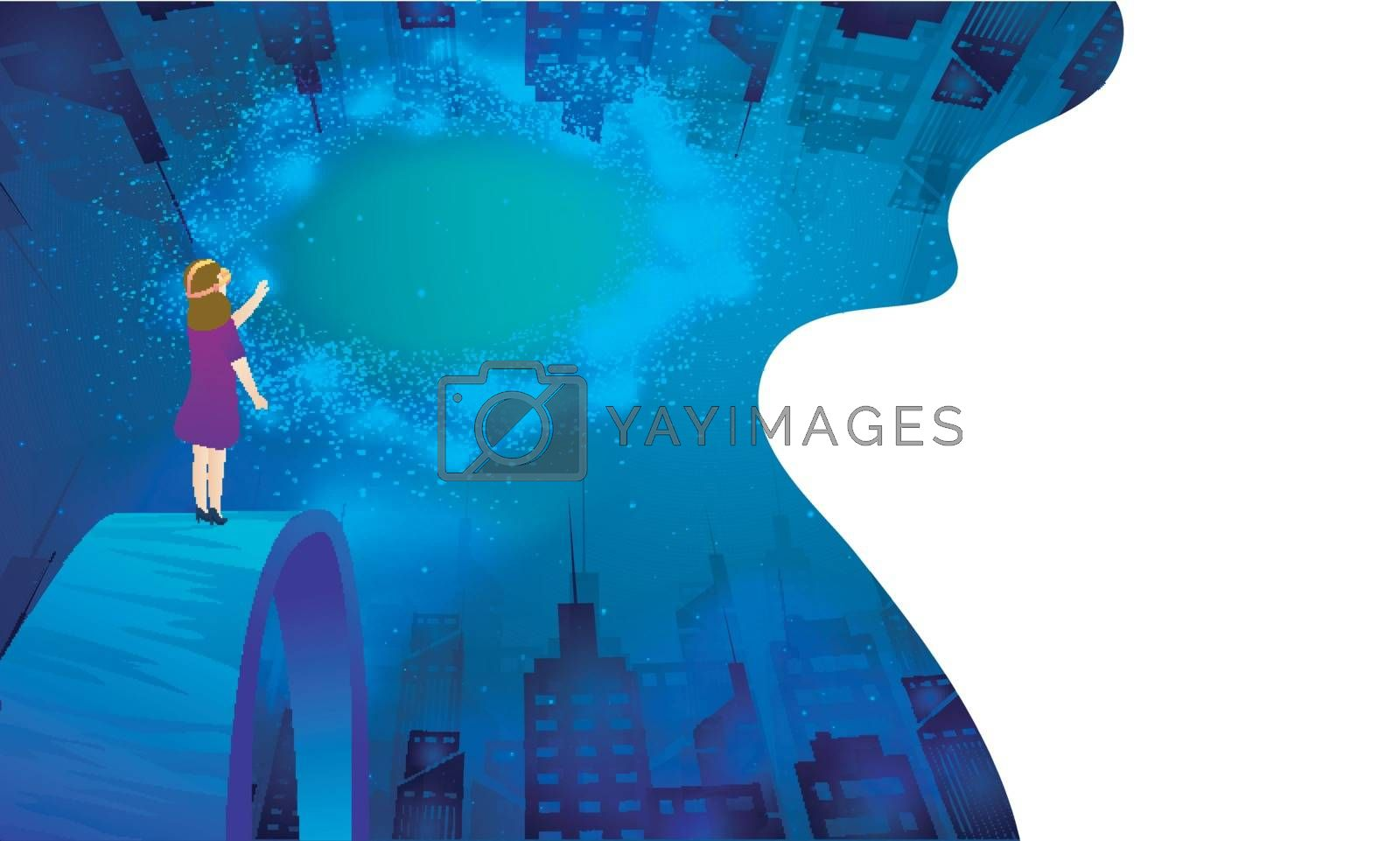 Futuristic concept based web template design, girl wearing VR glasses on urban landscape, interacting through imaginary universe.