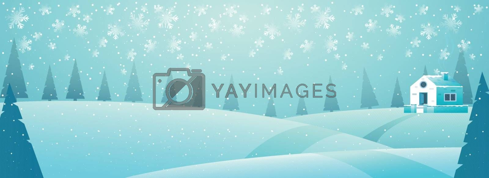 Winter landscape background with season trees and house for winter vacation concept. Banner or header design.