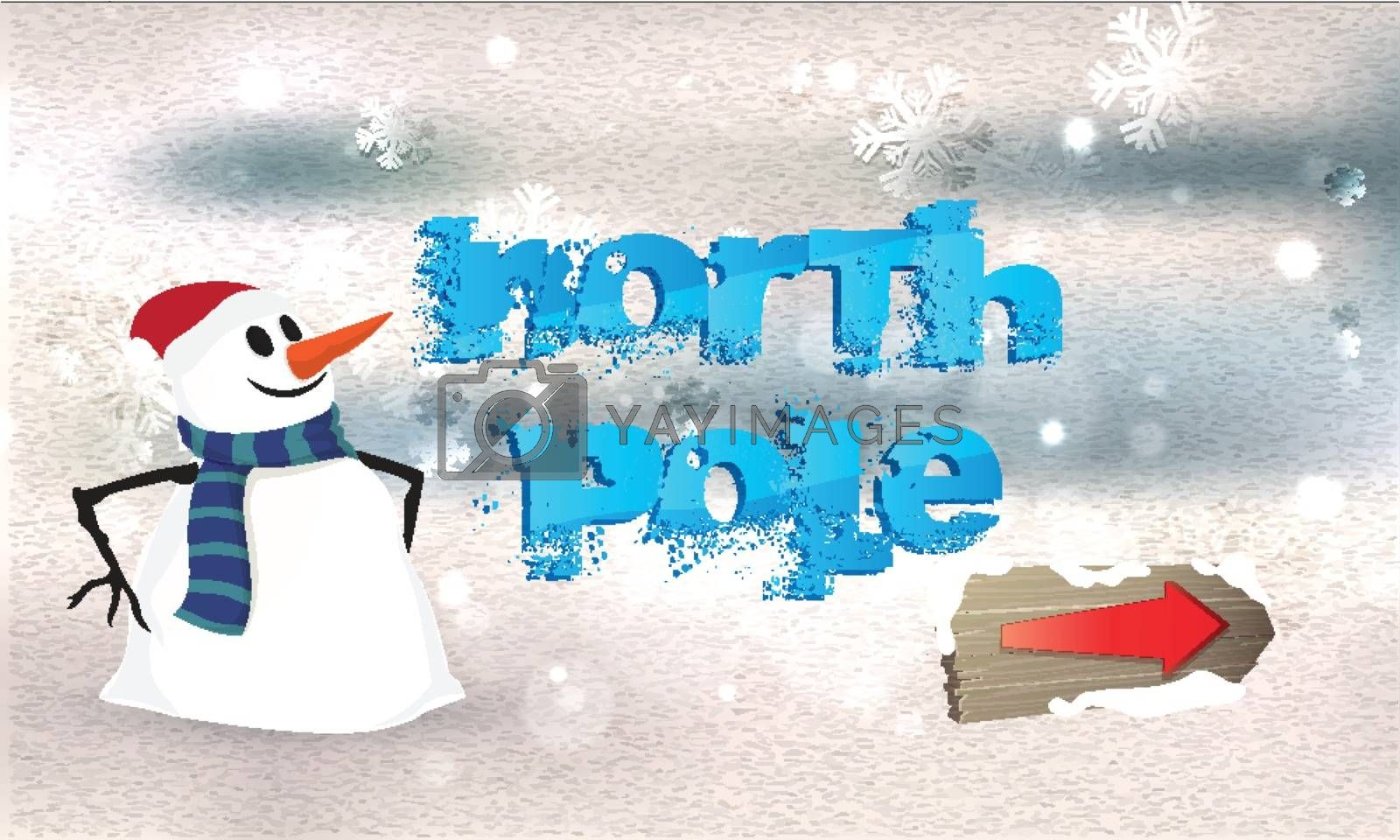 Creative lettering of  North Pole with snowman on snowfall background for Happy Winter concept.
