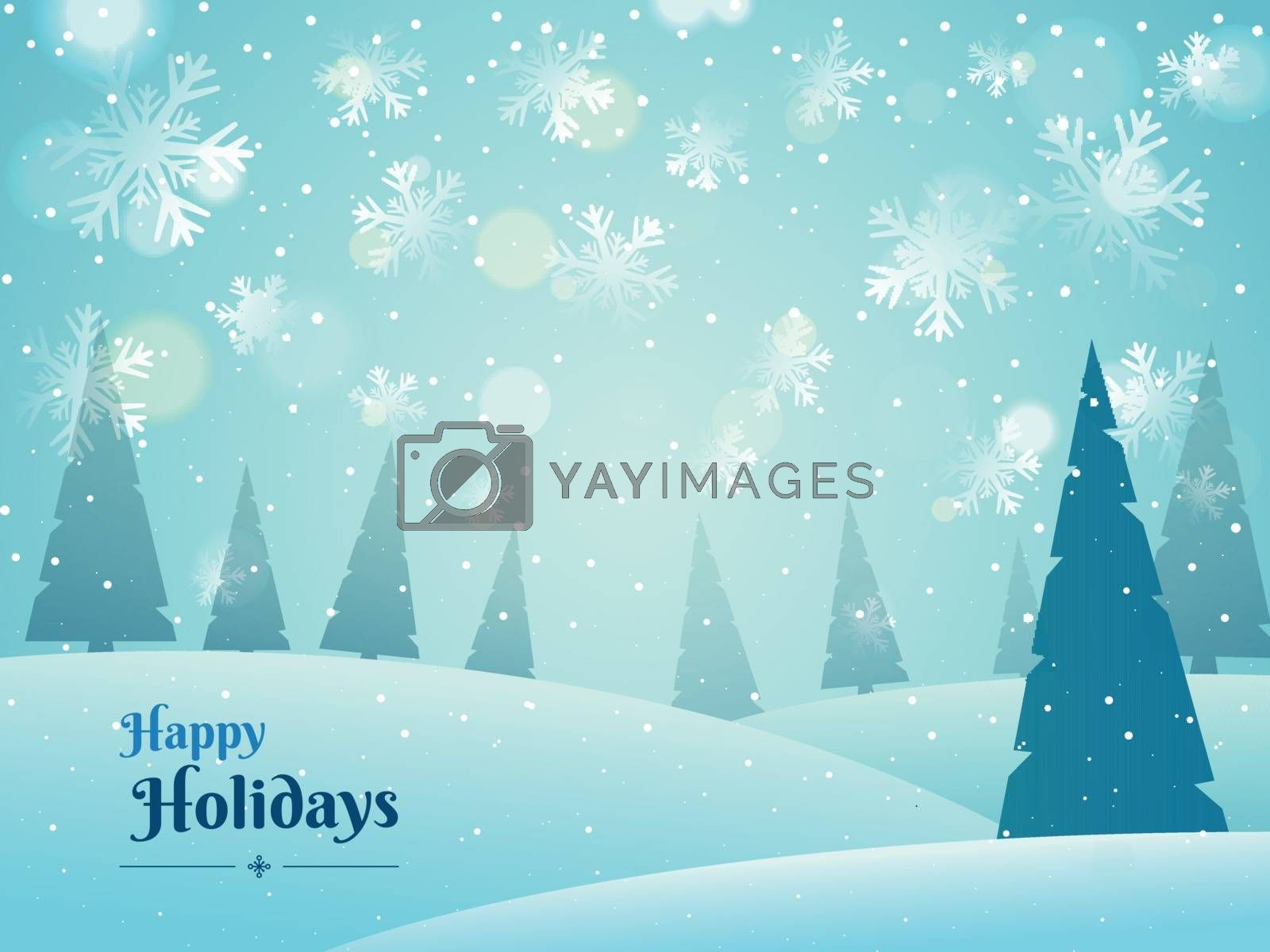 Snowflake background decorated with xmas trees for Happy Holidays celebration concept. Can be used as greeting card design.