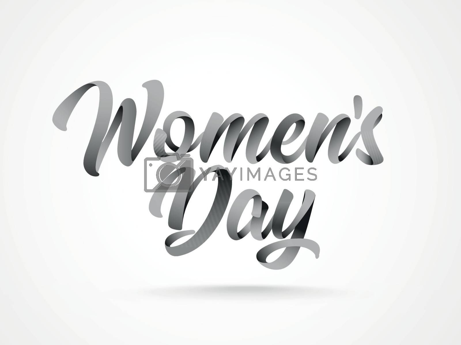 Stylish calligraphy text Women Day on white background.