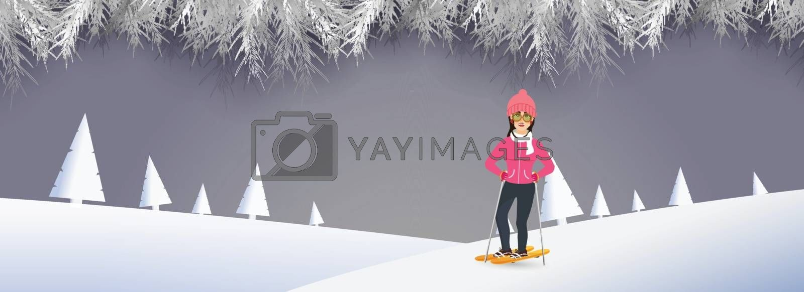Happy Winter header or banner design with illustration of girl skating on snowy mountain background.