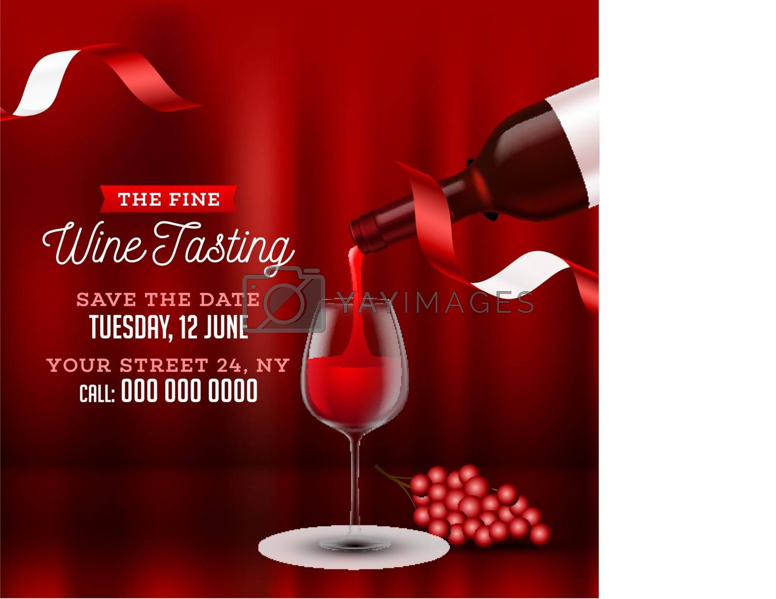 Glossy red background with wine in glass for Wine Tasting party celebration banner or poster design, date, time and venue detail.