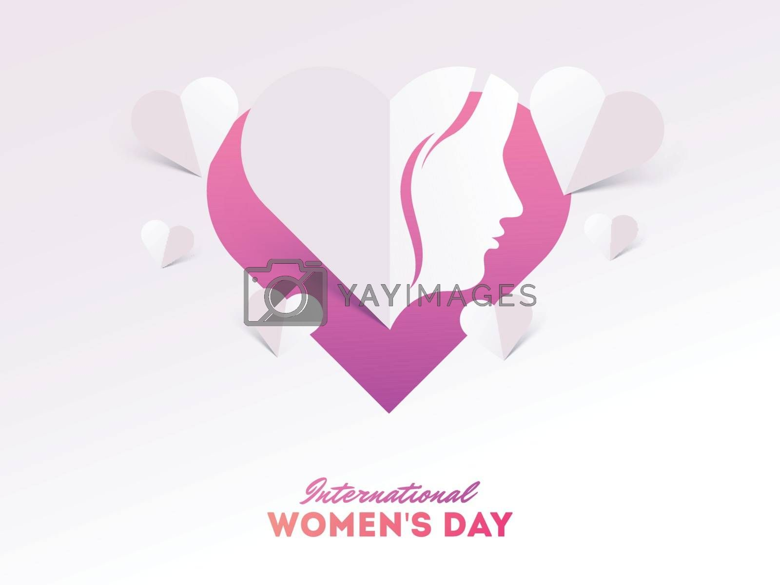 International Women's Day celebration greeting card design with tiny heart shapes.