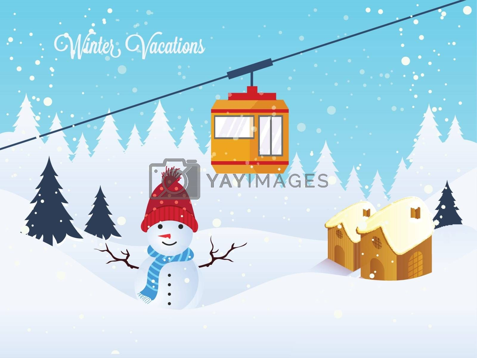 Snow capped winter background with illustration of snowman, houses and xmas trees for Winter Vacation celebration concept.