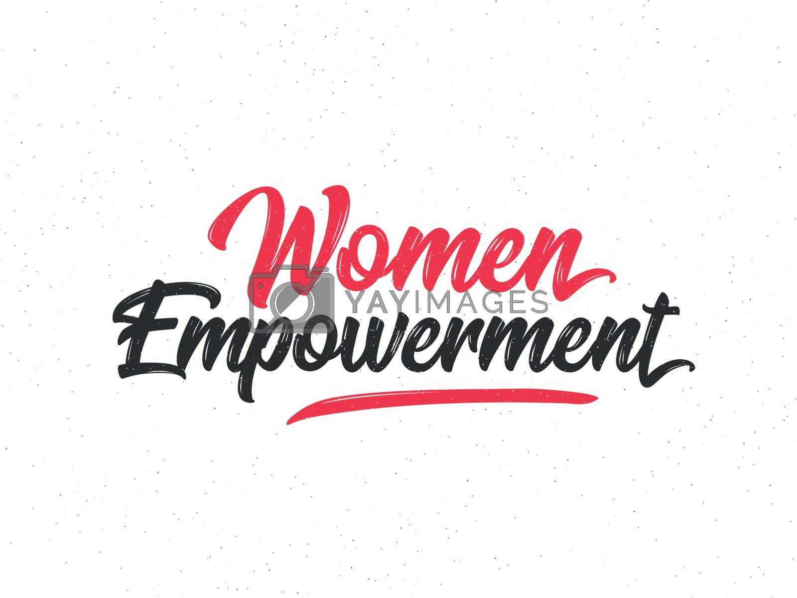 Calligraphic text Women Empowerment in red and black color.