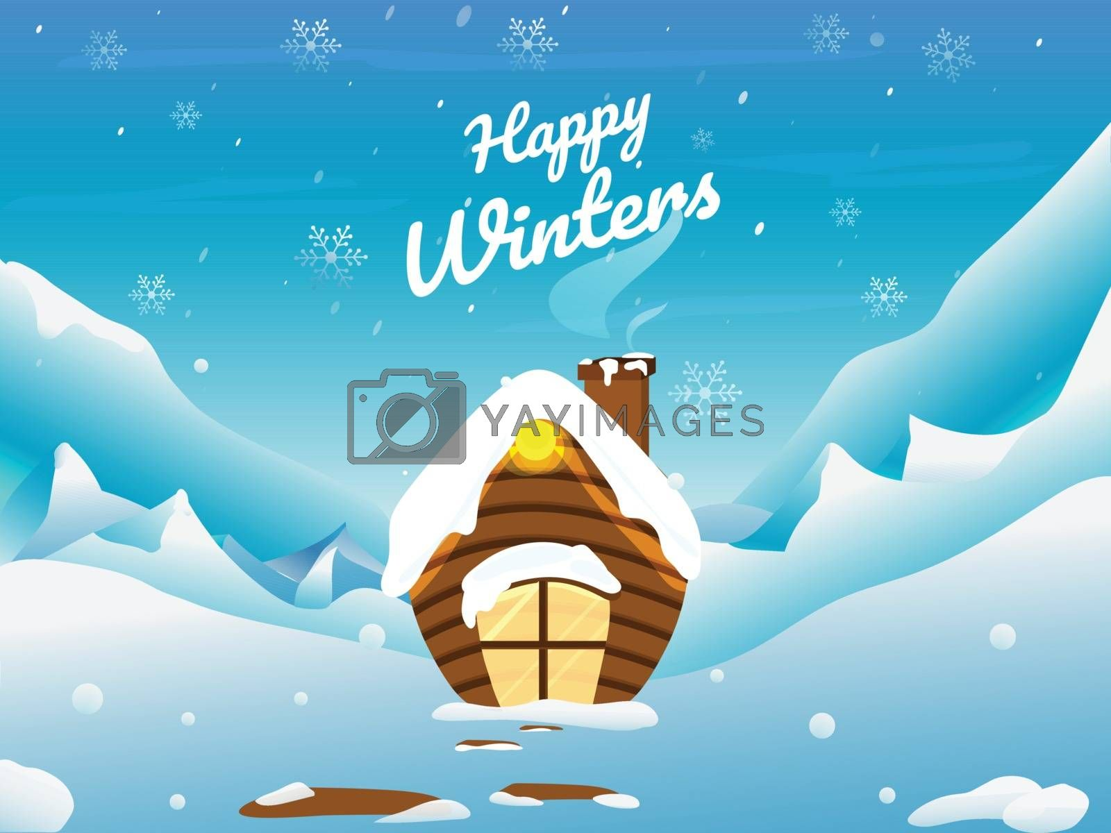 Happy Winter greeting card design with snow capped home winter landscape background.