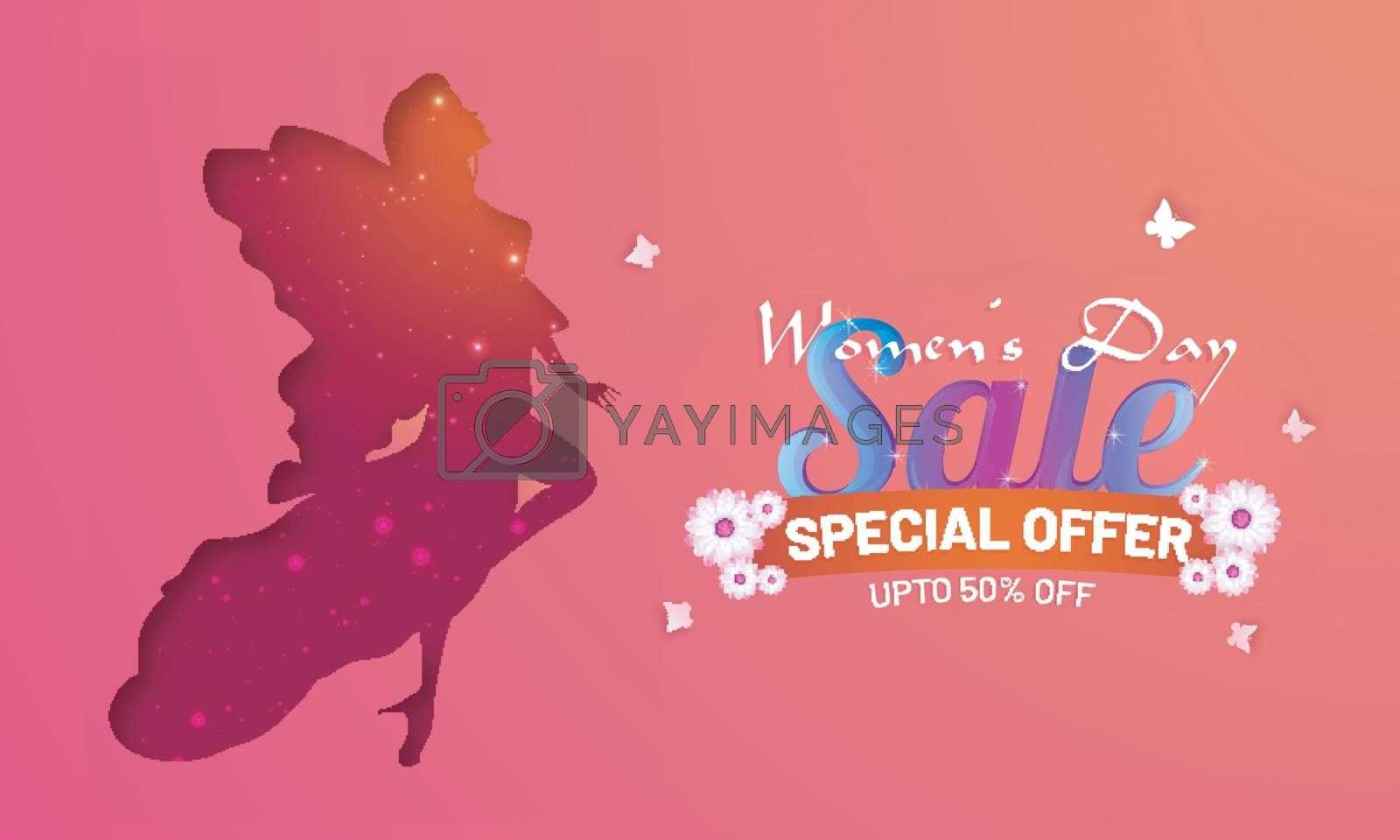 Women's Day sale poster or banner design with paper cutout style women silhouette and 50% discount offer.