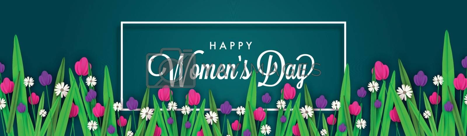 Website banner or header design decorated with colorful flowers on green background for Happy Women's Day celebration.