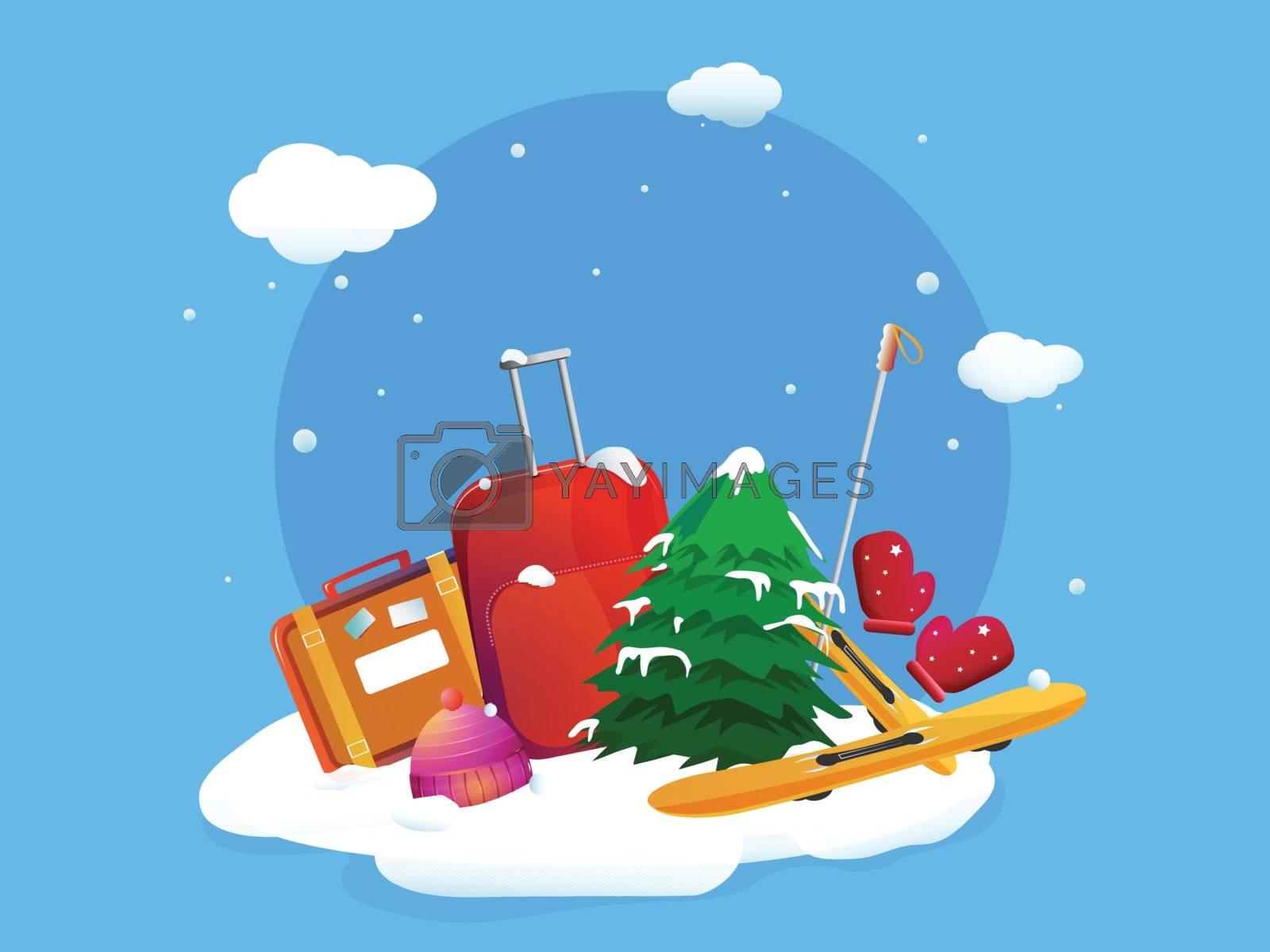 Illustration of backpack, xmas tree and skateboard on blue background. Winter Vacation celebration greeting card design.